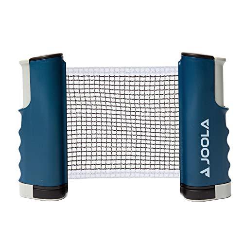 Rede de tênis de mesa portátil retrátil JOOLA e conjunto de postes (comprimento ajustável) – Joque Ping Pong em qualquer lugar, azul, pequeno