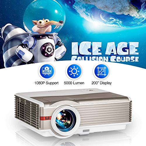 WIKISH Outdoor Movie Projector Support 200 Inch Display...