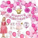 🌸Decorazioni per feste perfette: banner di buon compleanno con confezione regalo rosa, palloncini con corona di principessa, palloncino rotondo da 18 pollici e palloncino di compleanno a forma di stella, palloncini in lattice di alta qualità da 12 po...