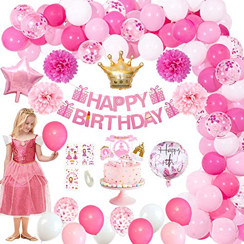 MMTX Decorazioni Compleanno Rosa, Palloncini Compleanno Lattice Coriandoli Palloncini Buon Compleanno Ballon Banner Cake Topper Pompon di Carta Palloncini Foil per Compleanno Matrimonio Baby Shower