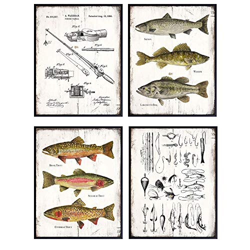 Fishing Accessories Patent Print, Rod, Reel, Lures Wall Art Set - Lake or Mountain House Decor for the Home - Rustic Vintage Bass, Trout, Freshwater Fish Room Decoration Poster - Gift for Fishermen