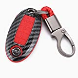 WFMJ Red Carbon Fiber + Silicone Button Smart Remote 5 Buttons Key Fob Cover Case Shell Fob for Nissan Altima Maxima Armada Murano Rogue Sedan Pathfinder