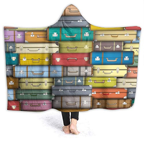 YOUMEISU Super Soft Hooded Blanket Throw,Colorful Suitcases Background Vintage Travel Voyage Holiday Themed Artful Design,Warm Blankets Throw 130x150cm