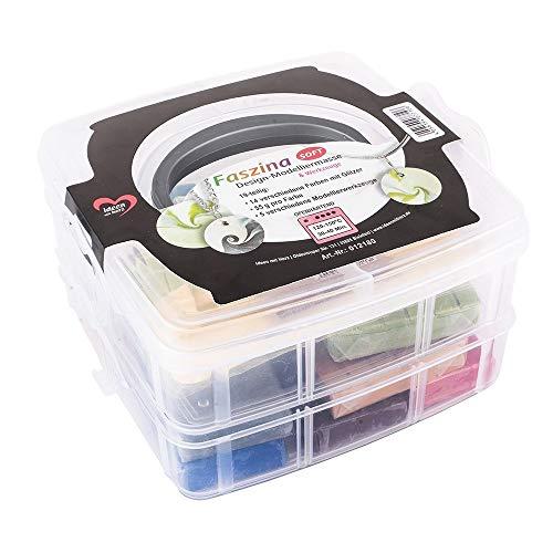 Ideen mit Herz Faszina Soft Set Glitzer | 770g Modelliermasse | Polymer Clay | weicher Bastelton | 14 Farben á 55g | Ofen-härtend | 23-teilig | inkl. 5 Modellierwerkzeuge