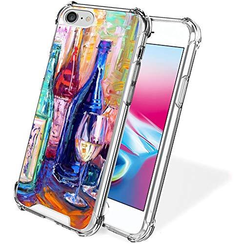 UZEUZA Funda para iPhone 7/8/SE2 Transparente Bumper Cover Anti-arañazos Bordes Transparente con Copa de Vino