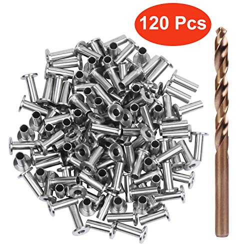 """Blika 120PACK Stainless Steel Protector Sleeves for 1/8"""" 5/32"""" or 3/16"""" Cable Railing, T316 Marine Grade, Come with A Free Drill Bit"""