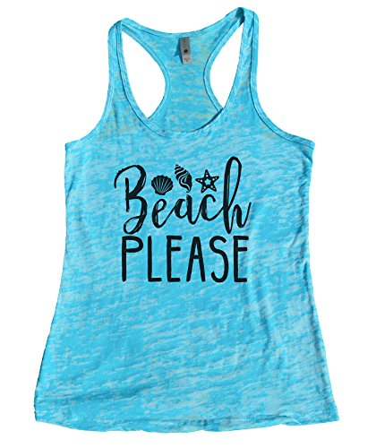 Funny Saying Summer Tanks  quotBeach Pleasequot  Little Royaltee Burnout Boutique Shirts Medium Tahiti Blue