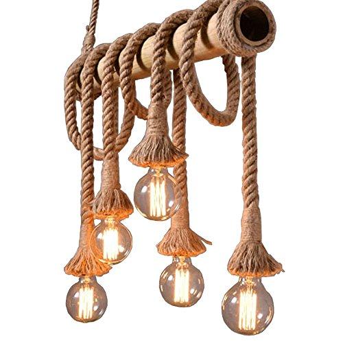 Gweat Lampada a sospensione stile industriale vintage, lampadario in corda di canapa stile rustico per ristorante Bar Poltrona da ufficio personale Loft club, colore marrone naturale in bambù, lunghez