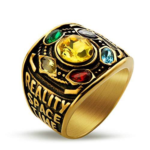 Thanos, anello da uomo, con simbolo dell'infinito, anello in pietra Infinity War Soul Power, alla moda, regalo per uomini e ragazzi e Lega, 20.6