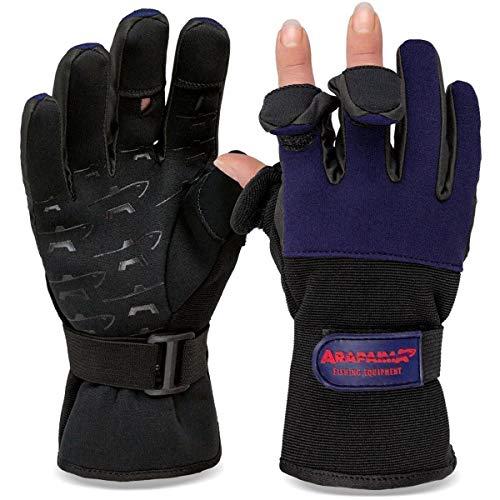 Angelhandschuhe Fishing Gloves Neopren Handschuhe Angeln Navy/Schwarz L