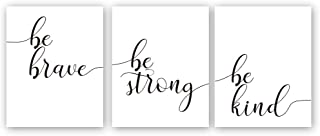 "Kairne Inspirational Quotes Art Print,Be Brave Be Strong Be Kind Motivational Phrase Canvas Painting,Set of 3((8""x10"",Unframed) Lettering Wall Poster for Home Office Decor"
