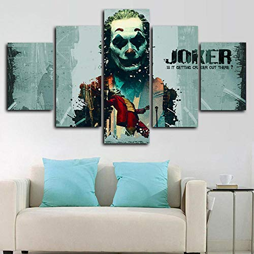 XHYUE Canvas Wall Art Paintings For Home Decor Joker DC Movie Crazy Quote Poster 5 Pieces Modern Framed Artwork The Pictures For Living Room Decoration HD Prints On Canvas Gift-39.5x21.7 inch(WxH)