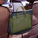 Car Net Pocket Handbag Holder,Car Mesh Organizer, Seat Back Net Bag,Barrier of Backseat Pet Kids, Cargo Tissue Purse Holder, Driver Storage Netting Pouch (Black1)