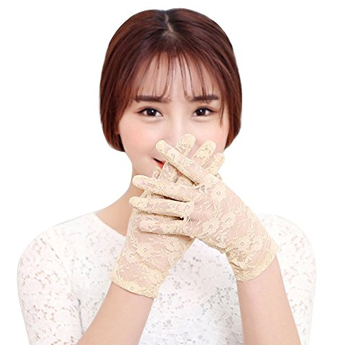Baiyu 1 Pair Summer Women Lady Girl Sexy Lace Floral Short Gloves Sun UV Protection Sunproof Thin Elegant Short Gloves Wedding Gloves for Dress, Driving, Wedding,One Size,Flexible--Colour