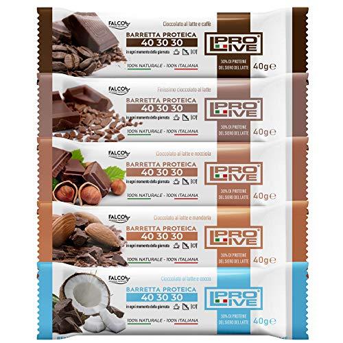 PROLIVE 40 30 30 BOX 12 LATTE– Barrette Proteiche Bilanciate, Senza Zuccheri Aggiunti, Croccante, Puro Cioccolato al Latte, 5 Gusti, 30% Proteine Del Siero del Latte (Whey Protein)(12x40g)(2x gusto)