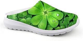 Men's Slippers Mesh Clogs Beach Shoes Green Plant Leaf Clover 3D Print Non-Slip Sandals Boys Leisure Shoes Closed Toe Gard...
