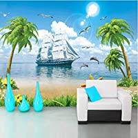Iusasdz カスタムヨットビーチイルカココナッツツリー3D写真の壁紙の寝室のリビングルームの装飾壁壁画3D-150X120Cm