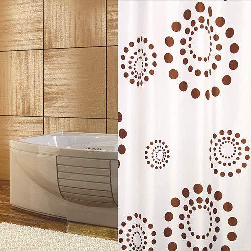 KSHANDEL24 Textil DUSCHVORHANG 180X230 cm BRAUN Kreise Punkte Weiss Retro ÜBERLÄNGE WASCHBAR!