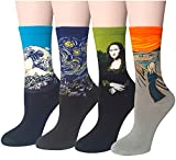 Chalier Pack de 4 pares Mujer Niña Calcetines Originales Ocasionales Estampados Divertidos Impresos de Algodón de Pintura Famosa