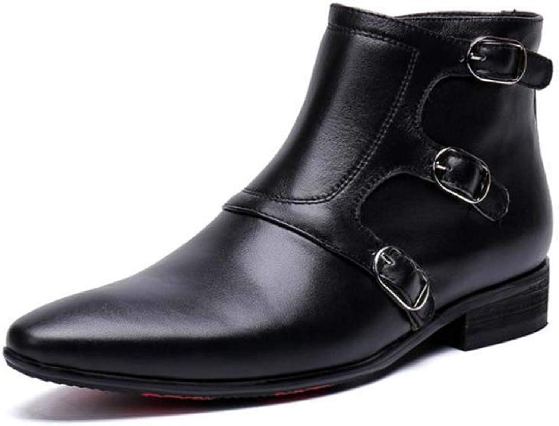 SHIXRAN Mnner Spitz Schnalle Stiefel Mode England Hoch Oben Schuhe Low-Heel Knchel Stiefel