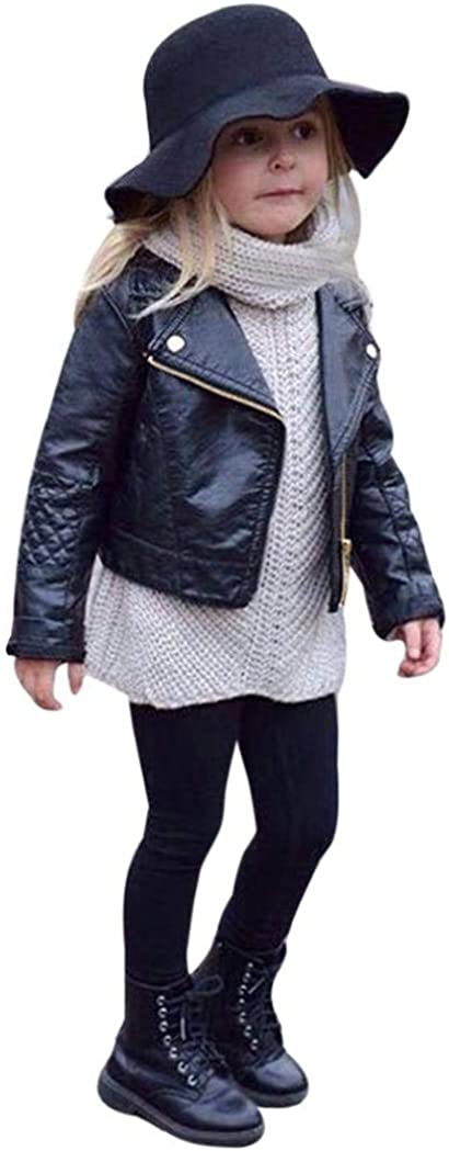 CM C&M WODRO Toddler Baby Boy Girl Motorcycle Faux Leather Jackets Coat Winter Outwear for 1-5Y