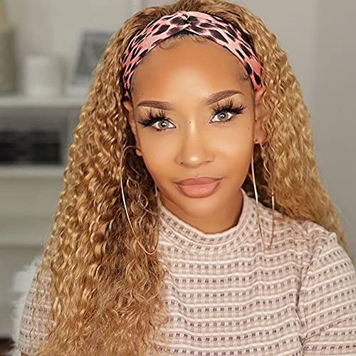 Curly Headband Wigs for Black Women Deep Wave Honey Blonde Wig With Headband Attached 24Inch Synthetic Water Curly Wigs for women