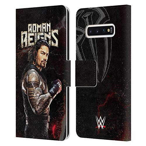 Head Hülle Designs Offizielle WWE Roman Reigns Superstars Leder Brieftaschen Handyhülle Hülle Huelle kompatibel mit Samsung Galaxy S10