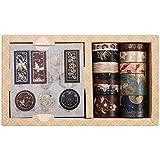 GOTH Perhk Washi Tape, 10 rotoli di nastro adesivo decorativo e 10 fogli di adesivi per scrapbooking, diario, agenda, confezione regalo, decorazione per le vacanze (multicolore)