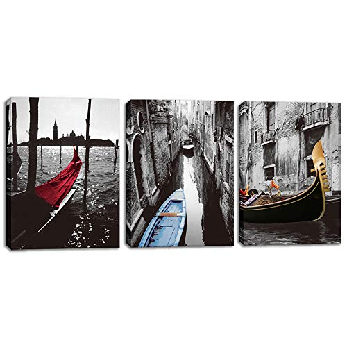 Innopics 3 Piece Venice Gondola Boat Canvas Wall Art Italy Cityscape Picture Painting Old House Scenery Giclee Print Artwork Home Black and White Decor Framed for Bedroom Office Living Room Decoration
