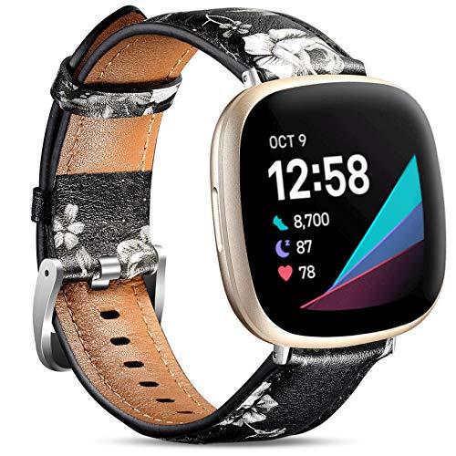 Maledan Compatible con Fitbit Versa 3 y Sense bandas para mujeres y hombres, correa de cuero de grano superior delgada correa de repuesto para reloj inteligente Sense & Versa 3, gris floral