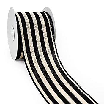 CT CRAFT LLC Stripes Canvas Cotton Ribbon for Home Decor Gift Wrapping DIY Crafts 2.5 Inch x 10 Yards x 1 Roll Ivory/Black Stripe