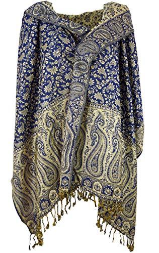 GURU SHOP GURU SHOP Indischer Pashmina Schal, Schultertuch, Stola mit Paisley Muster, Herren/Damen, Blau, Synthetisch, Size:One Size, 200x70 cm, Schals Alternative Bekleidung
