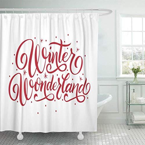 N\A Wasserdichter Stoff Duschvorhang Haken Zitat Hand Schriftzug Winter Wonderland Inschrift Roter Buchstabe Schnee Schneeflocken Text Extra langes Badezimmer Geruchlos umweltfre&lich