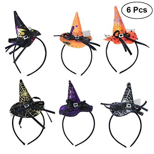 BESTOYARD 6pcs Hexenhut Haarreif Kinder Kostüm Cosplay Haarband Stirnband Party Halloween Haarschmuck Zubehör