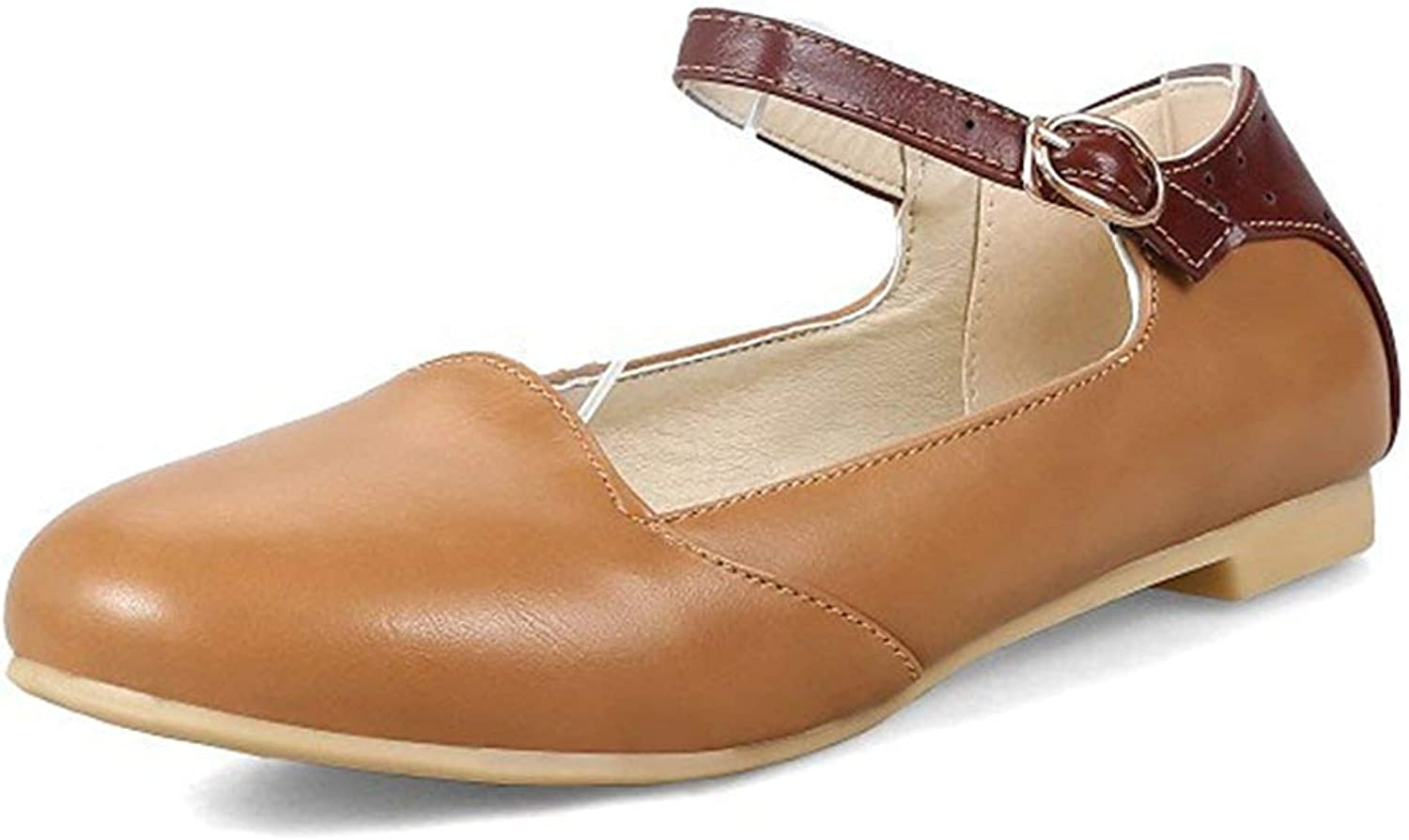 Unm Women's Comfort Low Cut Round Toe Buckled Driving Cars Dressy Ankle Strap Mary-Jane Flats shoes