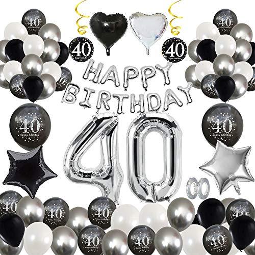 MMTX 40 Geburtstag Dekoration, Geburtstag Party Luftballon Deko mit Happy Birthday Luftballon,Druck Latex Luftballons Sterne Herz Folienballons für Schwarz Silber Junge Männer Mädchen Frauen (40)