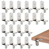 Pioli di supporto per mensola, 20 reggimensola pioli per ripiano in metallo forma L da 5mm per armadio libreria Supporti per ripiani legno vetro, staffe e supporti per mensole nichelati con foro