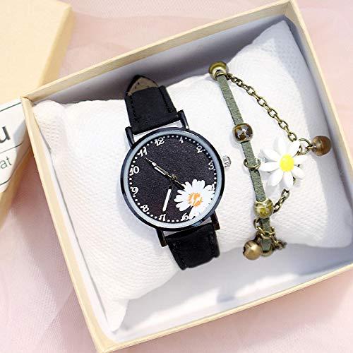 shangwang Reloj de señoras de la margarita de la flor linda de las señoras del reloj de la pulsera del conjunto casual del reloj