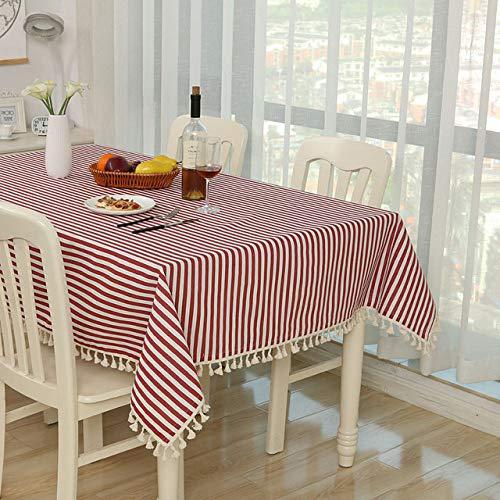 RCLYH Dot Plaid Tischdecke Abendessen Rechteckige Antiderapant Tischdecke Home Stripe Tischdecke Spitze Quaste | Tischdecken |