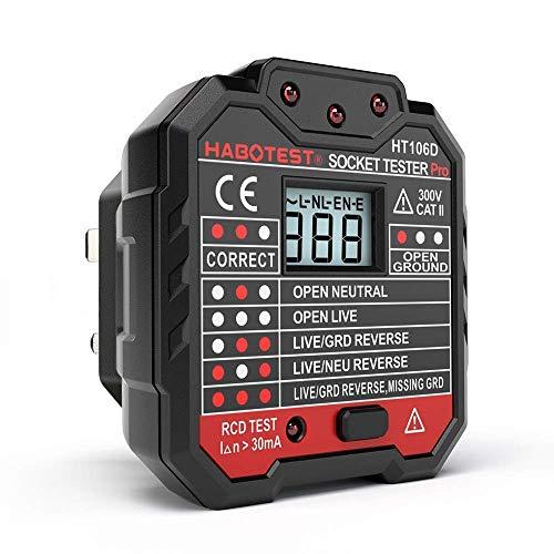 QUILLE Comprobador de Enchufe de Red con Pantalla LCD, Prueba de Cable de Tierra en Vivo Neutro, Prueba RCD, Enchufe británico