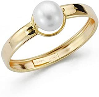 18K Gold Ring Pearl Center Smooth First Communion Girl