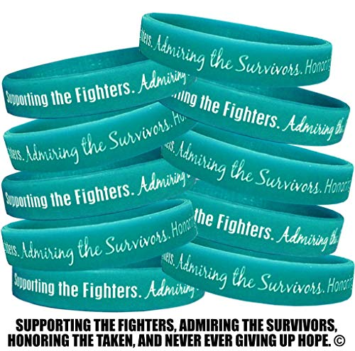 Fight Like a Girl Supporting, Admiring, Honoring Wristband Bracelet for Ovarian Cancer Scleroderma PKD Batten Disease - Teal (10 Pack)