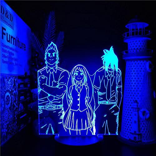 Boku no Hero Academia Big 3 Millones Hado Nejire Amajiki Tamaki LED Anime Nightlights My Hero Academia 3D Colores visuales cambiantes ilusión Lámpara de luz de tablero acrílico