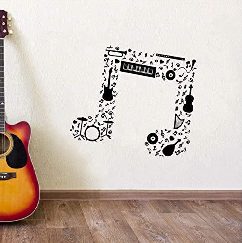 Wuyii Note Musicali Muursticker voor wand Gitaar Saxofoon Flauto Tamburi Orchestra Sticker Nieuw design noot Musicali Vinyl 50X57Cm