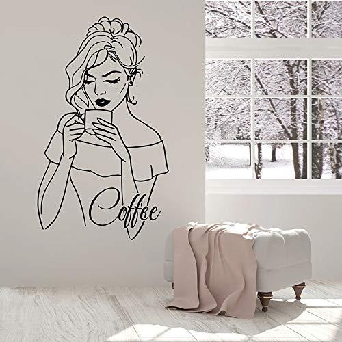 HGFDHG Belleza Mujer Pared calcomanía Beber café Relajarse Tiempo Signo Puerta Ventana Vinilo Pegatina café Restaurante decoración Interior Mural