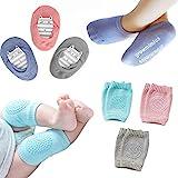 Baby Crawling Anti-Slip Knee and Anti Slip Baby Boys Girls Socks Best Infant Gift, Unisex Baby Toddlers Kneepads (Blue Pink Grey)
