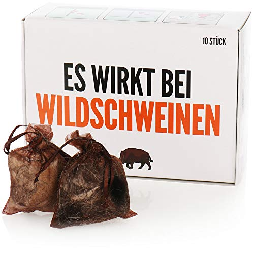 com-four® 10x Wildschweinschreck, tierfreundliche Wildschweinabwehr, unschädliches Fernhaltemittel aus Hundehaaren, Haustierabwehr & Wildtierabwehr
