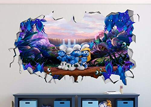 AUUUA Wandtattoos Smurfs Lost Village 3D Wall Decals Smashed Sticker Decoration Vinyl Movie Poster Mural