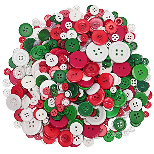 Livder 400g Christmas Craft Buttons Handmade Sewing Red Green White Button for Art Crafts Projects, DIY Decoration