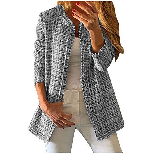 AILIEE F Mujeres coreanas otoño e invierno arco iris Tweed Vintage cuello redondo costura borde crudo suelto doble bolsillo borla abrigo chaqueta chaqueta grande